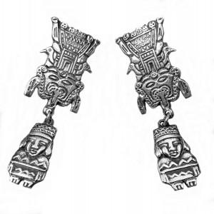 Vintage Peru Peruvian sterling silver screw back earrings 925 zilveren schroef oorbellen designer tribal folklore folkloric 5.jpg