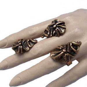 Harrie Harry Lenferink Nederland Dutch bronzen brons bronze ring en clip oorbellen clip earrings vintage designer modernist brutalist 1a.jpg
