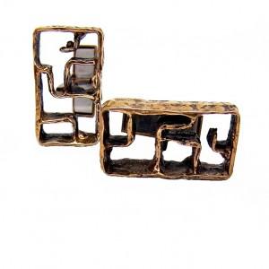 Finland bronze bronen cufflinks manchetknopen designer modernist brutalist vintage Scandinavian made in 1.jpg