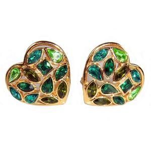 Yves Saint Laurent YSL vintage 1980s heart clip earrings hart oorbellen 80 er jaren green groene gold plated goud designer haut couture 6.JPG
