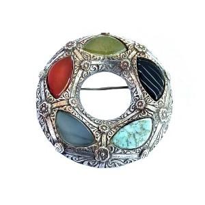 Miracle Scotland Schotland vintage designer brooch broche silver tone zilverkleurig varius agate stones steen stone 2.jpg