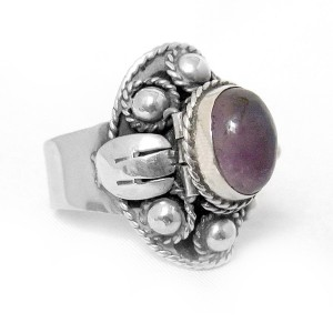 Mexican poison ring gif 925 sterling silver zilveren open Amethyst Amethist Taxco designer vintage modernist traditional 6A.JPG