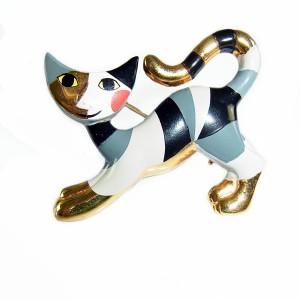 Rosina Wachtmeister Goeble Oostenrij Austria vintage enamel cat brooch emaille katten broche designer 5.JPG