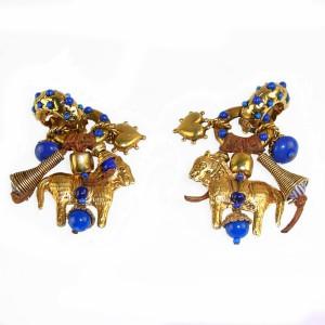 Zoe Coste Paris France Reminiscense vintage designer earrings clip oorbellen dangle hangende gold plated blue vergulde met blauw 1980s 80er jaren 5.JPG