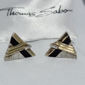 Thomas Sabo Nodernist designer Germany Duitsland clip earrings oorbellen met zwart en  goud black and gold 1.JPG