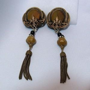 Long lange Vintage Ermani Bulatti brons kleurige brass coloured designer clip oorbellen earrings Art Deco style from Holland The Netherlands c.JPG