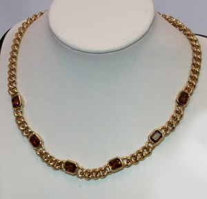Christian Dior Germany Grosse Vintage Costume collier necklace with facetted stonesbrown yellow geelbruine stenen stones a (2).JPG