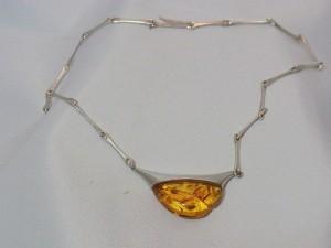Lapponia Finland 925 sterling silver zilveren collier necklace ketting barnsteen amber Modernist Vintage Designer 1999 c.JPG