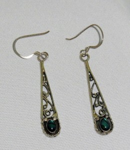 Circle J.W. vintage sterling silver zilveren dangle pierced earrings oorhangers oorbellen gaatjes groene steen green stone d.JPG
