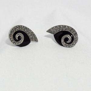 Vintage 925 silver sterling onyx marcasites markasieten earrings pierced gaatjes oorbellen zilveren d.JPG