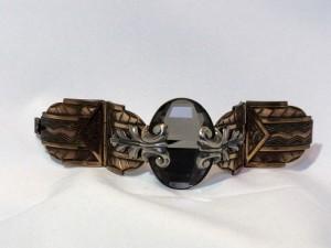 Ermani Bulatti vintage bracelet with lange smokey facet cut glass stone a.JPG