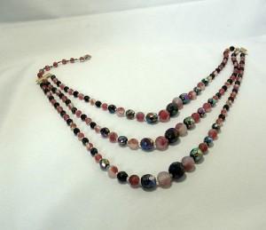 Christian Dior designer vintage costume jewelry necklace collier ketting adjustable verstelbaar 3 rows drie rijen glass beads glas kralen eighties 80er jaren b.JPG