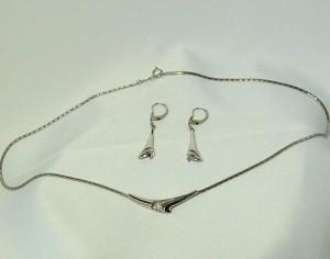 Teka Theodor Klotz Pforzheim Germany Duitsland  zilveren collier ketting silver necklace set earrings oorbellen  mid century sixties seventies 60er 70er 1970s 1960s a.JPG