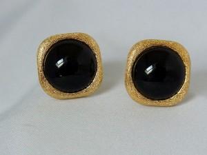 Christian Dior designer vintage gold  tone goudkleurig metal metaal black stone lange zwarte steen grote a.JPG