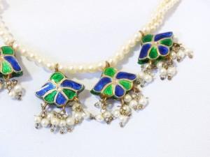 Antique Antiek Antieke old oud collier ketting necklace  met parels emaille enamel pearls faux imitation imitatie Vintage Costume 1930s 1940s Art Deco Jugendstil 3.JPG