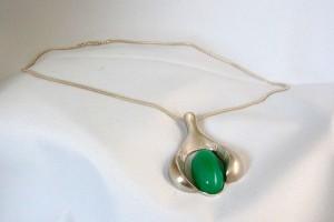 Jacob Jensen 925 silver zilveren collier ketting hanger necklace pendant green stone groene steen origial box originele doos Denmark Denemarken Scandinavian Vintage Designer Modernist Rare 2.JPG