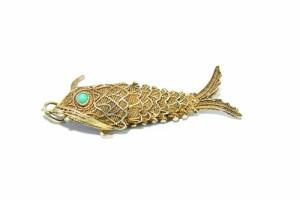 Chinese Chinees vermeil gilded verguld silver zilveren Parfum vis hanger Perfume Fish Pendant 1920s Old Oude Antiek Antique met Turkoise Eye Ogen 13.JPG