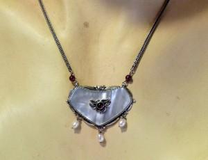Vintage 835 925 silver zilveren collier ketting hanger necklace parelmoer granaatjes parels pearls granate mother of pearl MOB old oud jugenstil 9.JPG