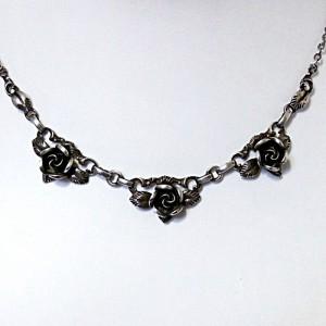 TEKA Theodor Klotz Pforzheim Germany Duitsland 925 zilveren collier met roosjes silver necklace with roses vintage old designer 2.JPG