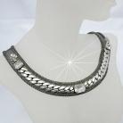 Ermani Bulatti verstelbaar vintage zilverkleurig metalen designer collier / choker.