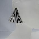 Grote 925 zilveren modernistische vintage designer clip oorbellen met meesterteken.