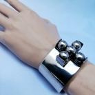 Erik Dennung (Denemarken) AD-Design, brede robuuste verzilverde spang armband uit de 70er jaren.