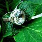 Bengt Hallberg Zweedse 925 zilveren modernistische ring met grote bergkristal.