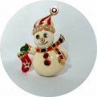 Kenneth Jay Lane Jewels of Christmas Sneeuwpop broche voor Franklin Mint met originele verpakking.