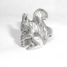 Grote vintage 925 (sterling) zilveren Eekhoorn ring.