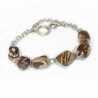 Modernistische vintage 925 zilveren armband met gepolijste natuurlijke stenen.