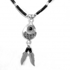 Navajo indiaanse Native American 925 zilveren collier met onyx.