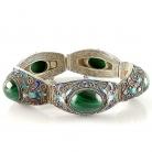 Antieke Chinese export zilveren armband met vlinder emaille en ovale groene malachiet cabochons, 30er jaren.