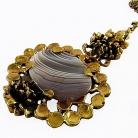 Pentti Sarpaneva verfijnd modernistisch vintage bronzen collier met streep agaat, 70er jaren.