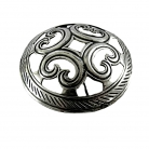 Kalevala Koru Oy Finland, grote vintage zilver plated traditionele designer broche.